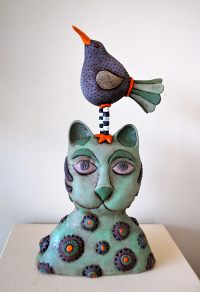 Betsy Evans - cat with bird